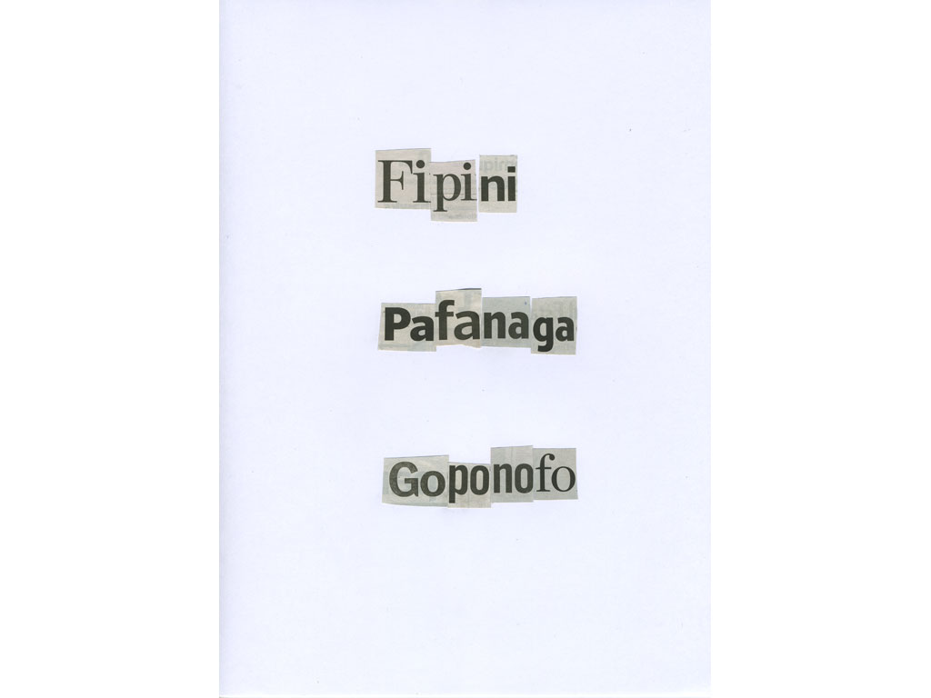 Claude Closky, 'Fipini', 2010, collage on paper, diptyque, twice 30 x 21 cm.