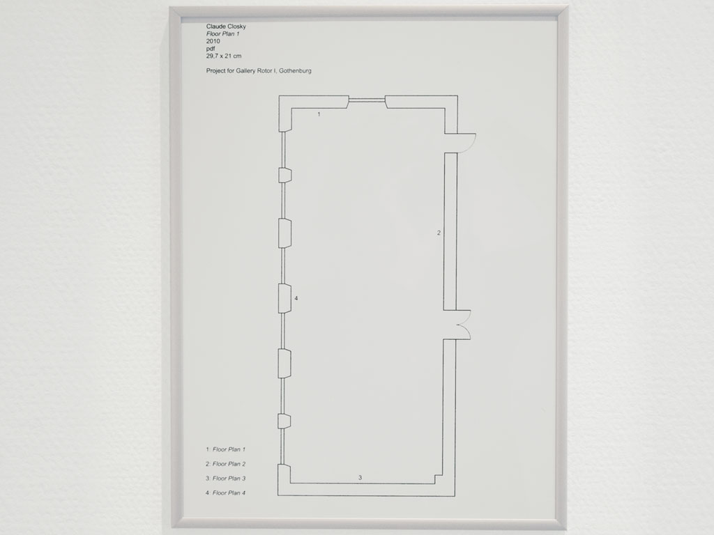Claude Closky, 'Floor Plans', 2010, framed pdf file, 4 pages 29,7 x 21,5 cm each. Installation view 'A Map Bigger Than It's Surface', Gallery Rotor I, Gothenburg. 25 August - 28 August 2010. Curated by Finn Chung, Lina Kruopyte, Xavier Villafranca