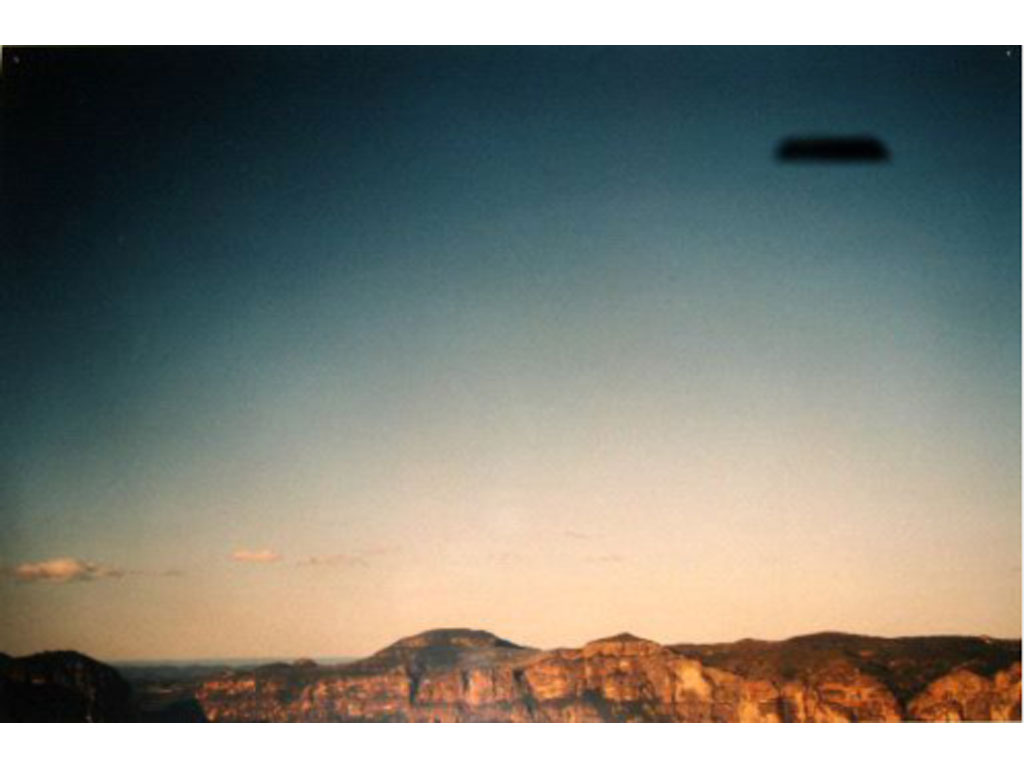 Claude Closky, 'Flying Saucer, Blue Mountains (1)', 1996, c-print, 20 x 30 cm.