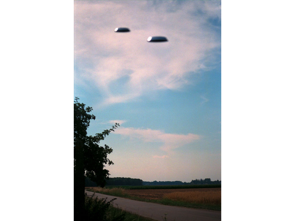 Claude Closky, 'Flying saucer, Route de la Ferme (1)', 1996, c-print, 30 x 20 cm.