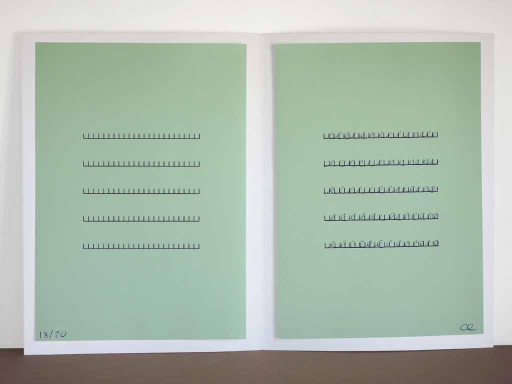 Claude Closky, 'Green Form,' 2006, artist edition, laser print and ballpoint pen on colored paper, 32 x 44 cm.