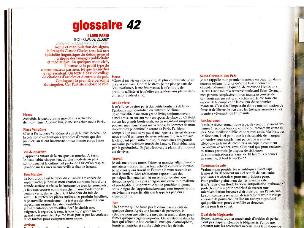 Claude Closky, 'I love Paris', 2000, in Glossaire, Paris: Libération, 'Style #1' (February 26th), p. 42.