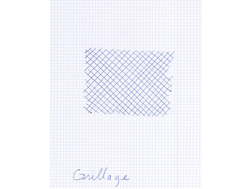 Claude Closky, 'Grillage [wire fence]', 1996, ballpoint pen on grid paper, 30 x 24 cm.