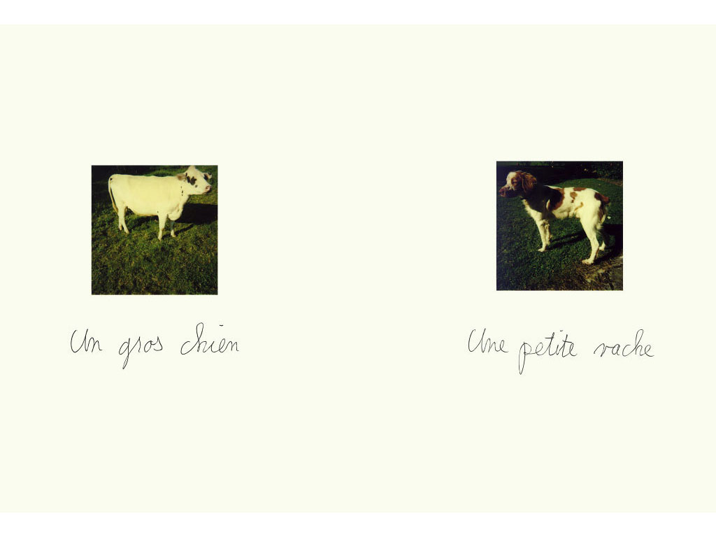 Claude Closky, 'Un gros chien - Une petite vache [a little cow - a big dog]', 1989, Polaroïd, ballpoint pen, diptych, twice 21 x 15 cm.