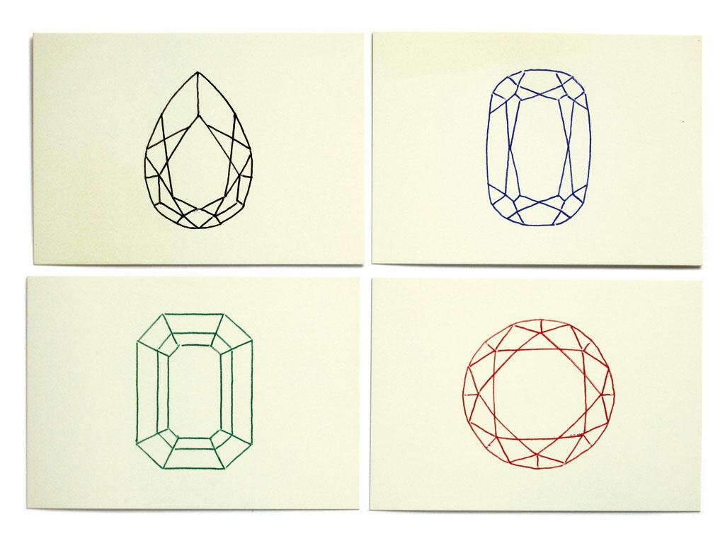 Claude Closky, 'Big Gems', 1999, postcards, Paris: Colette, 4 cards 105 x 150 mm, edition Colette, Paris.