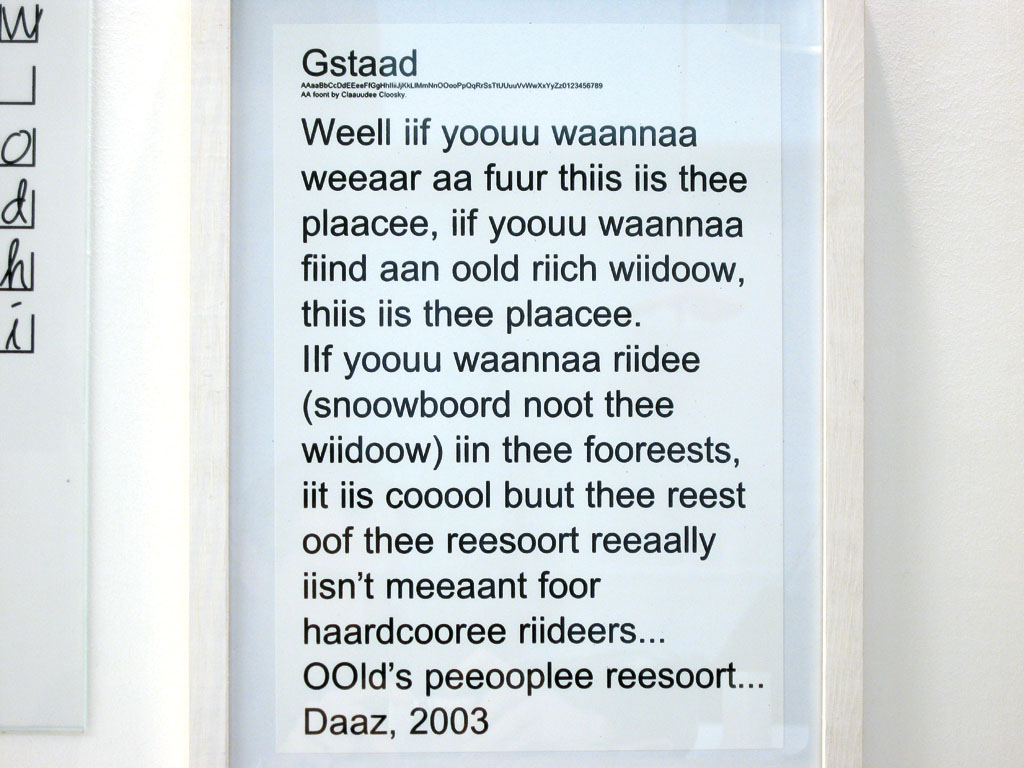 Claude Closky, 'Gstaad', 2003, Postscript font (Mac & PC), Regular, Italic, Bold, Bold Italic.
