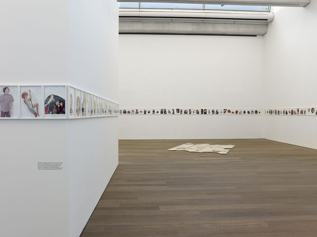 Claude Closky, 'Guili guili [Gootchie goo]', 1996, ball-point pen and collage on paper, 32 x 4400 cm (200 drawings 30 x 20 cm). Exhibition view 'Second Degré', Mudam, Luxembourg. 17 November 2010 - 10 April 2011. Curated by Marie-Noëlle Farcy, Clément Minighetti