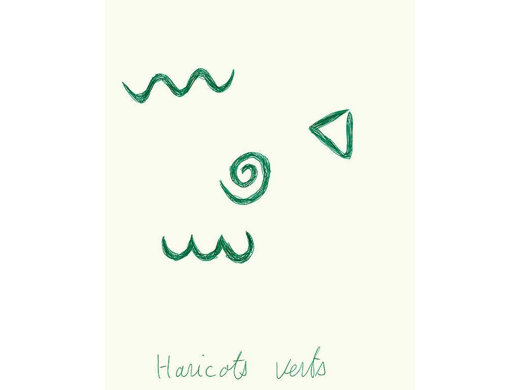 Claude Closky, 'Haricots verts [green beans]', 1996, green ballpoint pen on paper, 30 x 24 cm.