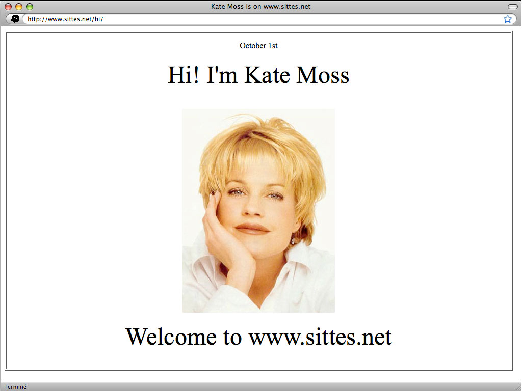 Claude Closky, 'Hi', 2003, web site, Php (http://www.sittes.net/hi), 365 pages.