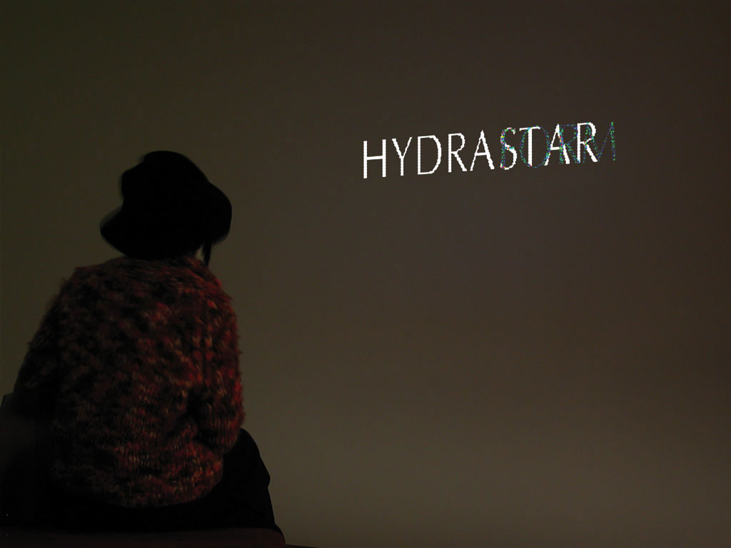 Claude Closky, 'Hydrastar', 1997, projector, computer, silent, dimensions variable, loop. Exhibition view 'Economies of time', Museum Ludwig, Köln. 15 February - 2 June 2002. Curated by Hans-Christian Dany, Marjorie Jongbloed, Michael Krajewski, Astrid Wege