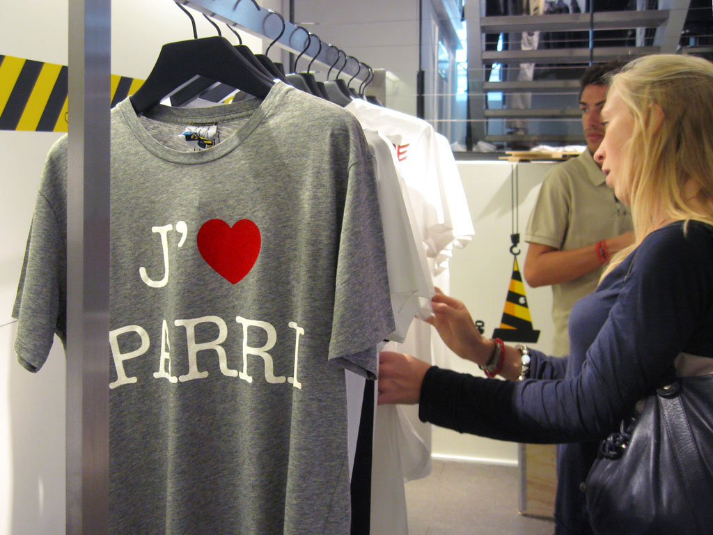 Claude Closky, 'J'aime Parri, J'aime Parih, J'aime Parys,' 2008, 3 t-shirts for Colette for Gap, New York, sizes XL, L, M, S, SX.