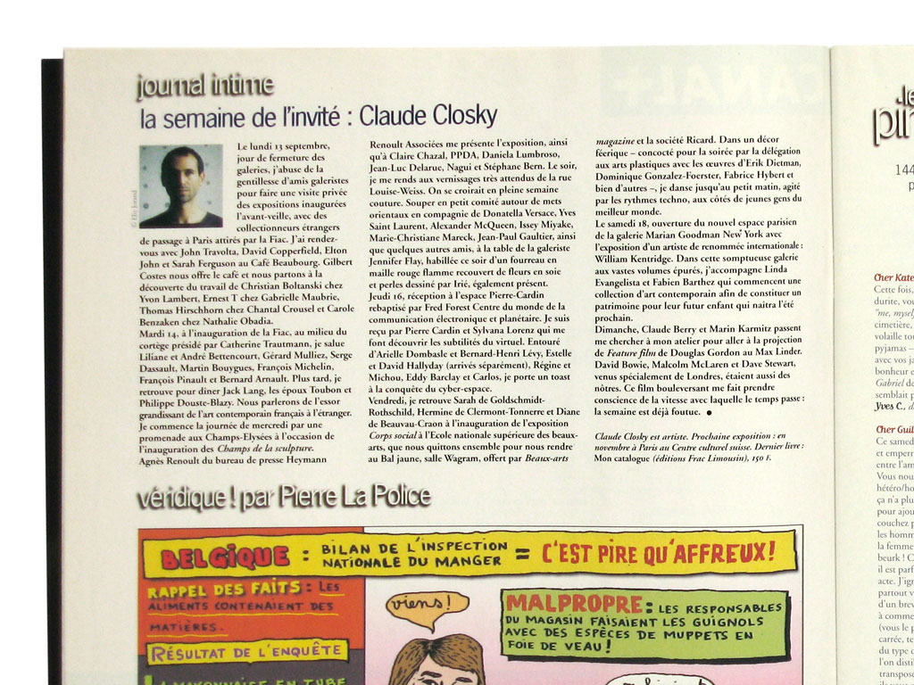 Claude Closky, 'Journal intime [Diary]', 1999, Paris: Les Inrockuptibles #214 (September 29th) in the 'The guest's week', p. 12, 27,5 x 23 cm.