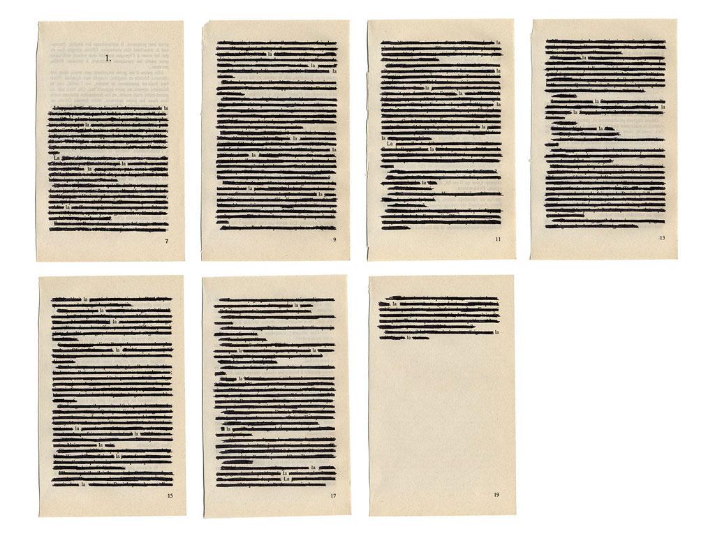 Claude Closky, 'La la la, 1', 2003, black ball-point on book pages, 50  x 65 cm.