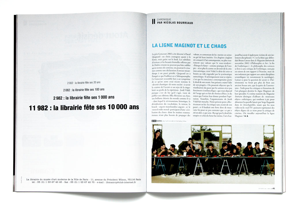 "Claude Closky, 'La librairie fête son anniversaire [The bookstore celebrates its anniversary]', 2002, advertisement campaign. Paris: Musée d'art Moderne de la ville de Paris bookshop, in Art press #284, supplément ""Art press par lui-même"" (November), 3rd cover; Beaux-Arts Magazine (December)."