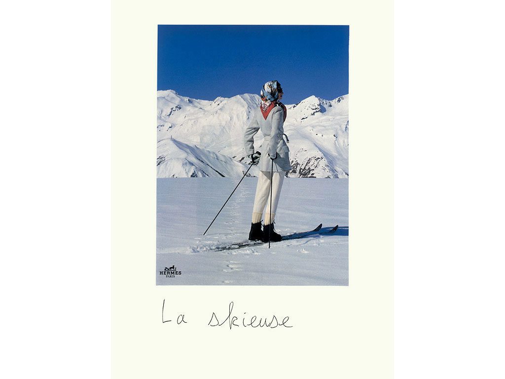 Claude Closky, 'La skieuse [The Skier]', 1998, black ballpoint pen and collage on paper, 40 x 30 cm.