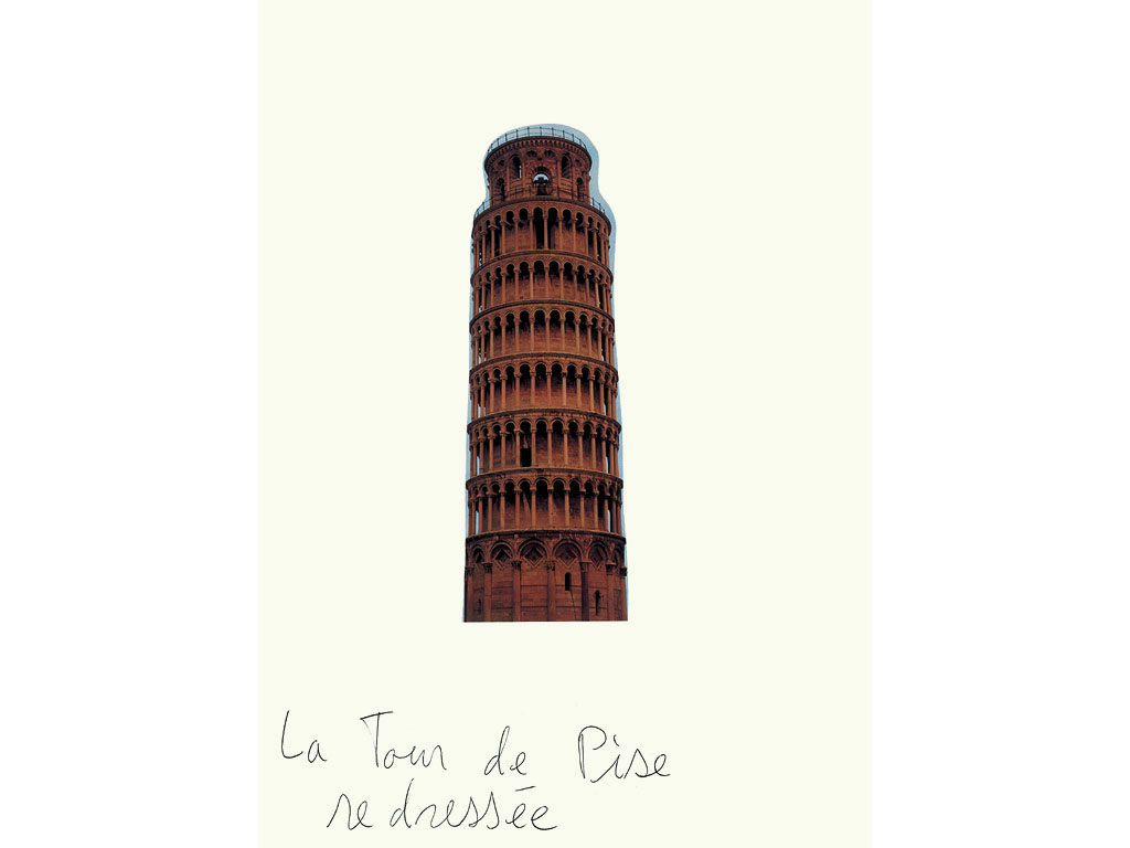 Claude Closky, 'La Tour de Pise redressée [The Tower of Pisa Straightened Up]', 1998, black ballpoint and collage on paper, 35 x 25,5 cm.