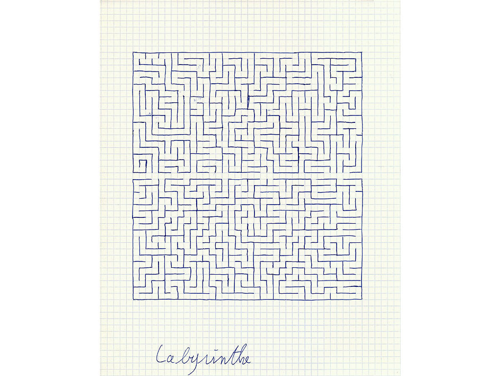 Claude Closky, 'Labyrinthe [labyrinth]', 1994, ballpoint pen on grid paper, 30 x 24 cm.