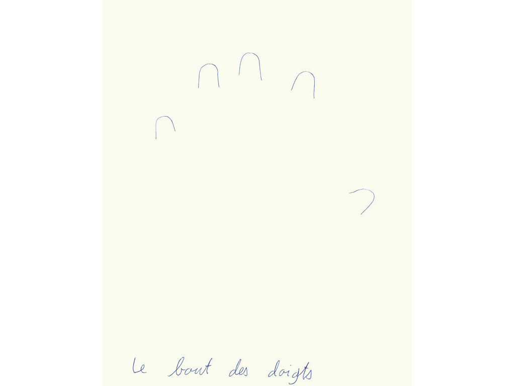 Claude Closky, 'Le bout des doigts (main gauche) [the end of the fingers (left hand)]', 1993, ballpoint pen on paper, 30 x 24 cm.
