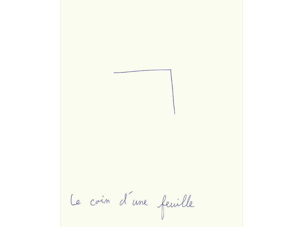 Claude Closky, 'Le coin d'une feuille [the corner of a sheet of paper]', 1992, ballpoint pen on paper, 30 x 24 cm.