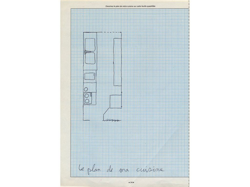 Claude Closky, 'Le plan de ma cuisine [The blueprint of my kitchen]', 1992, ballpoint pen on paper, 30 x 24 cm.