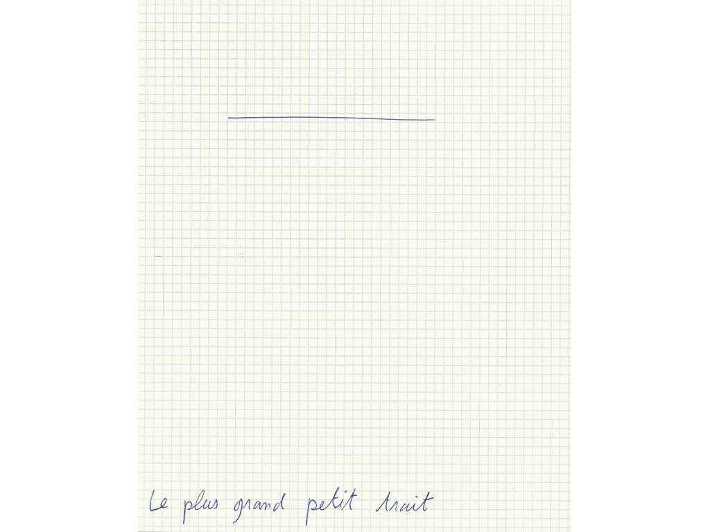 Claude Closky, 'Le plus grand petit trait [the bigest small Line]', 1993, ballpoint pen on grid paper, 30 x 24 cm.