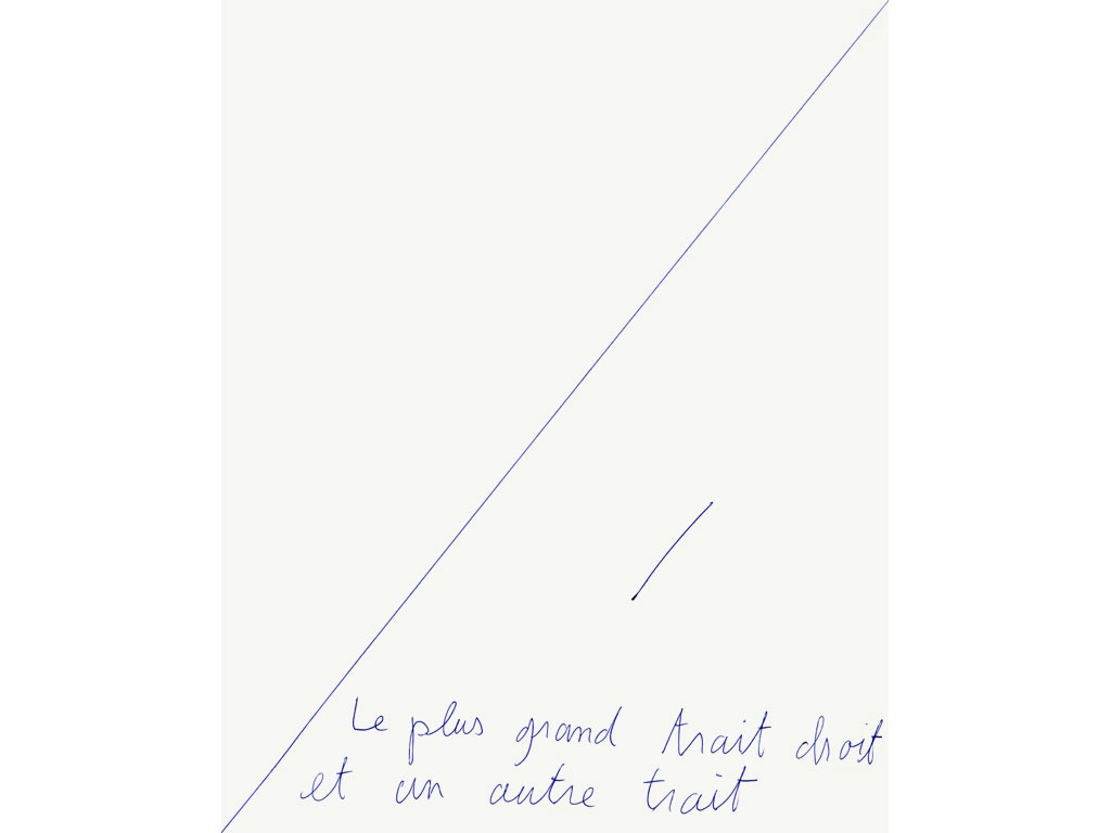 Claude Closky, 'Le plus grand trait droit et un autre trait [the biggest straight line and another line],' 1993, ballpoint pen on paper, 30 x 24 cm.