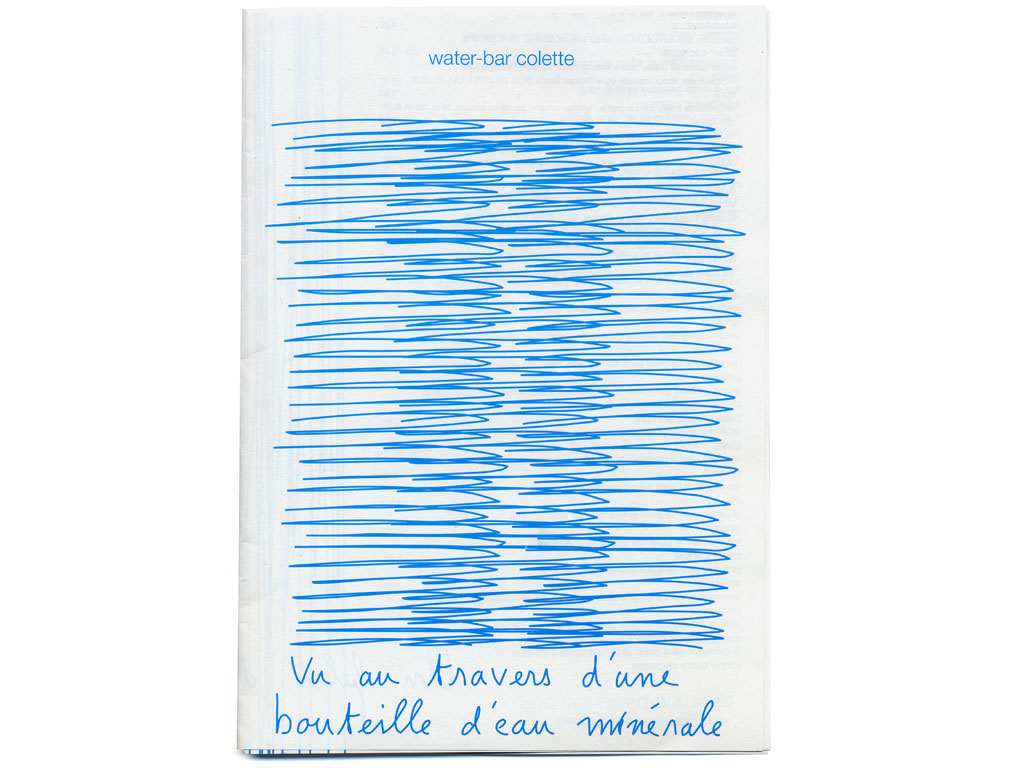 Claude Closky, 'Le water-bar vu au travers d'une bouteille d'eau minérale', 2001, menu of the Colette water-bar, 42 x 29,7 cm.