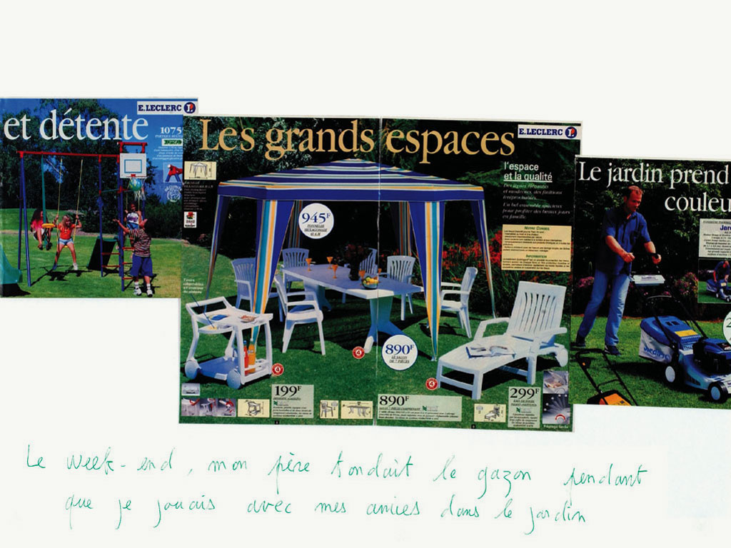 Claude Closky, 'Le week-end, mon père tondait le gazon pendant que je jouais avec mes amies dans le jardin [At the weekend, my father mowed the grass when I was playing with my friends in the garden]', 1998, ballpoint pen and collage on paper, 60 x 80 cm.
