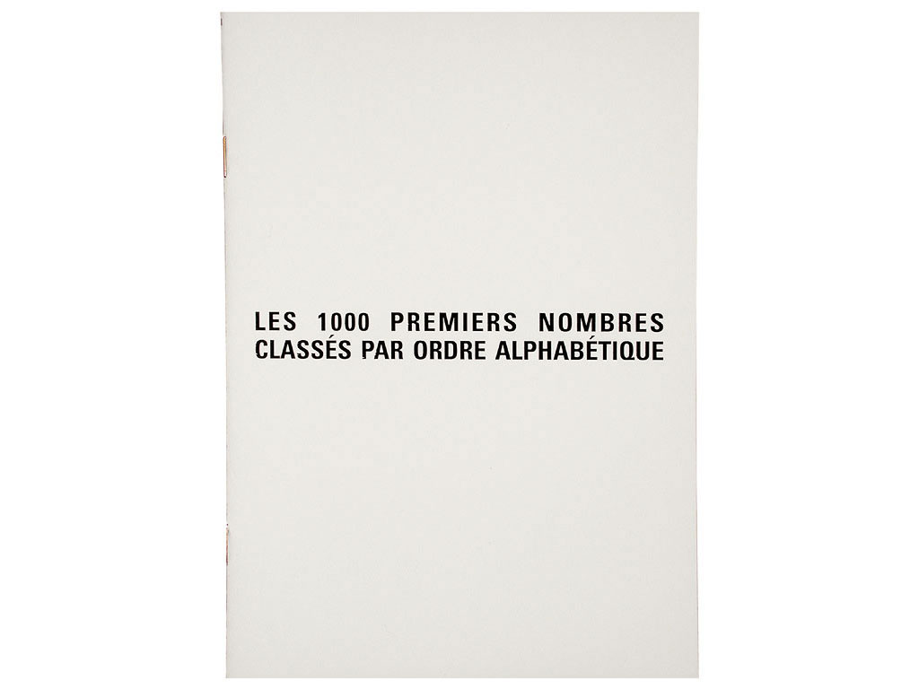 Claude Closky, 'Les 1000 premiers nombres classés par ordre alphabétique [the First Thousand Numbers Classified in Alphabetical Order]', 1989, artist's publication, b&w photocopy, 12  pages, 21 x 15 cm.