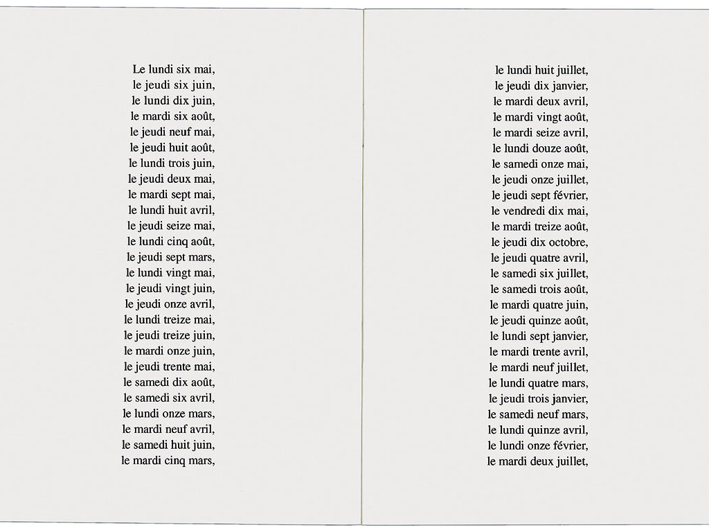 Claude Closky, 'Les 365 jours de l'année 1991 classés par ordre de taille [the 365 Days of 1991 Classified by Size]', 1991, artist's publication, b&w photocopy, 16 pages, 21 x 15 cm.