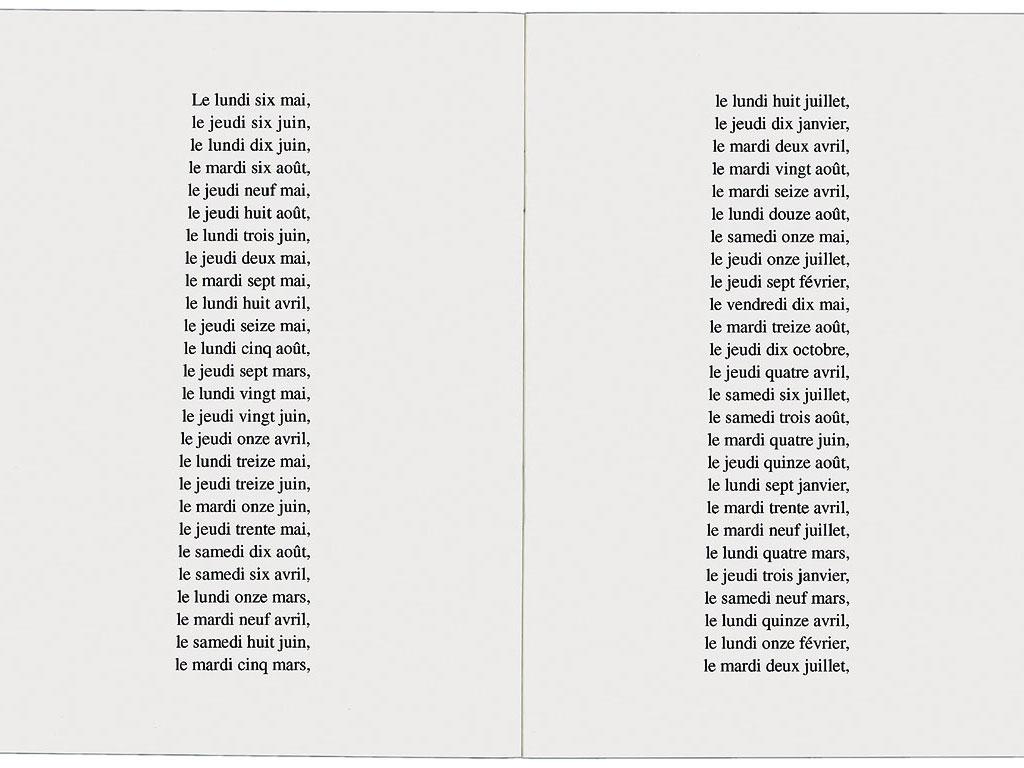 Claude Closky, 'Les 365 jours de l'année 1991 classés par ordre de taille [the 365 Days of 1991 Classified by Size]', 1991, artist's publication, b&w photocopy, 16 pages, 21 x 15 cm.