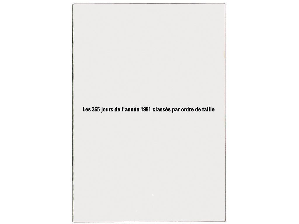 Claude Closky, 'Les 365 jours de l'année 1991 classés par ordre de taille [the 365 Days of 1991 Classified by Size],' 1991, artist's publication. Photocopy, 16 pages, 21 x 15 cm.