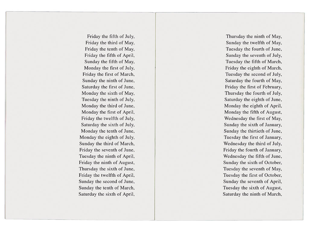 Claude Closky, The 365 days of 1991 classified by size [Les 365 jours de 1991 classés par taille], 1992