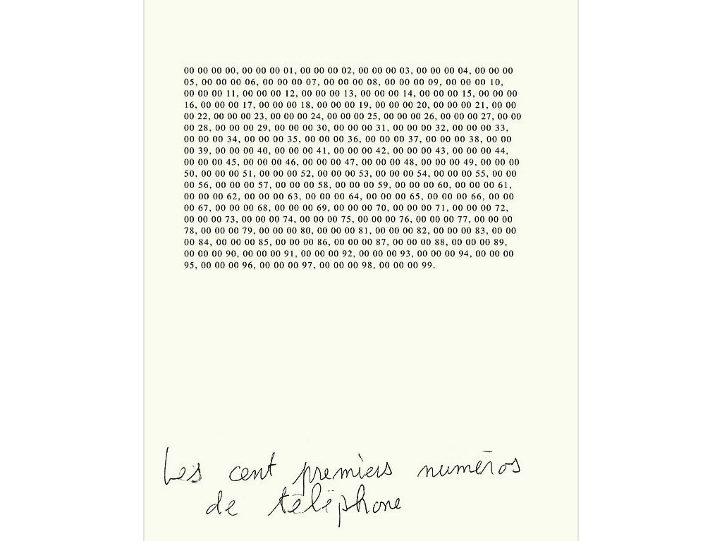 Claude Closky, 'Les cents premiers numéros de téléphones [The first hundred telephone numbers]', 1989, ballpoint pen on bromide print, 30 x 24 cm.