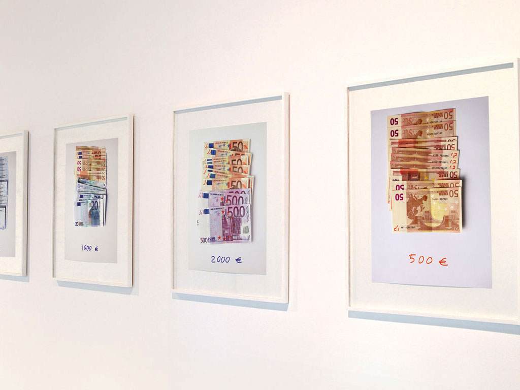 Claude Closky, 'Euros,' 2002-2003, c-print, permanent felt-tip pen, 32 x 24 cm prints,  42 x 34 framed each.