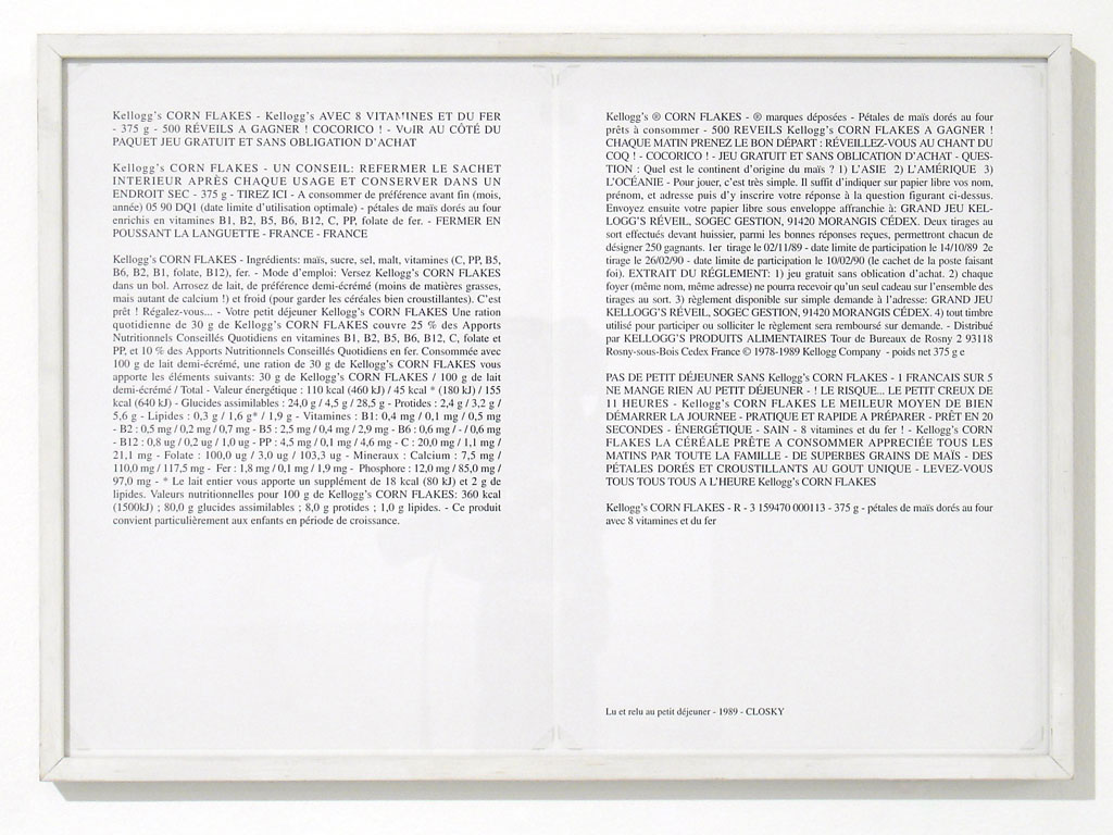 Claude Closky, 'Lu et relu au petit déjeuner [Read and read again at breakfast] (Cornflakes)', 1989, laserprint on paper, 2 pages 21 x 29,7 cm.