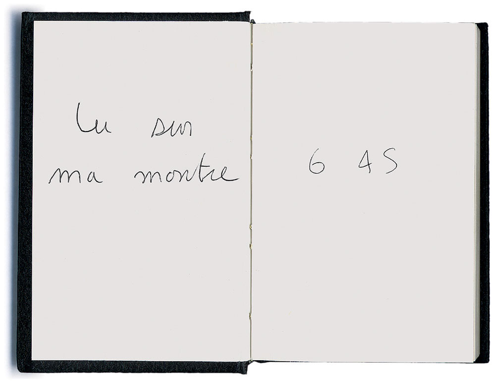 Claude Closky, 'Lu sur ma montre [Read on my Watch]', 1990, ballpoint pen on sketch pad, 200 pages, 14 x 9 cm.