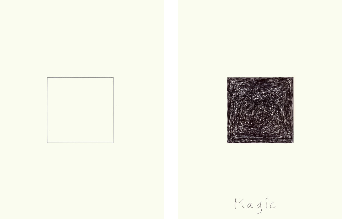 Claude Closky, 'Magic (square)', 2009, ballpoint pen on paper, two drawings 30 x 40 cm.