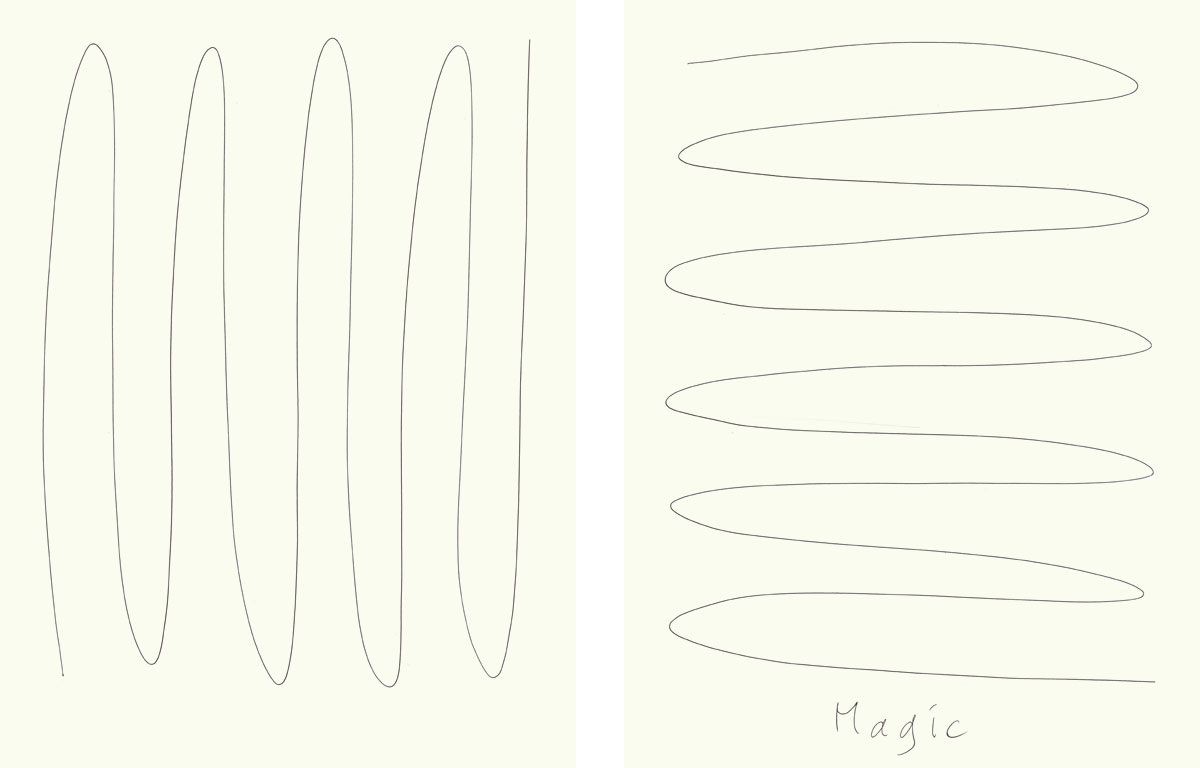 Claude Closky, 'Magic (horizontal)', 2009, ballpoint pen on paper, two drawings 30 x 40 cm.
