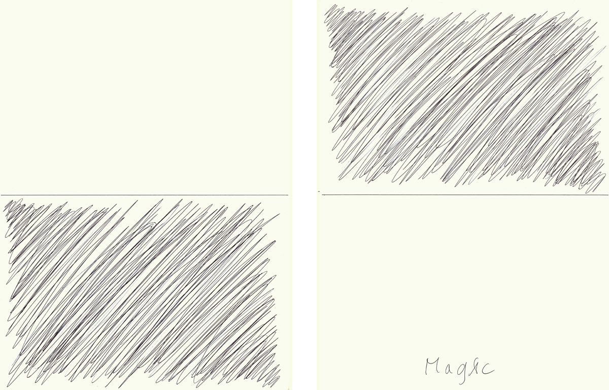 Claude Closky, 'Magic (up)', 2009, ballpoint pen on paper, two drawings 30 x 40 cm.