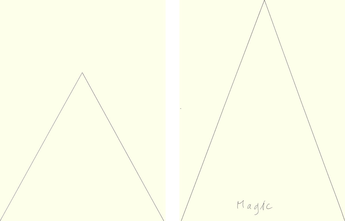 Claude Closky, 'Magic (triangle)', 2009, ballpoint pen on paper, two drawings 30 x 40 cm.