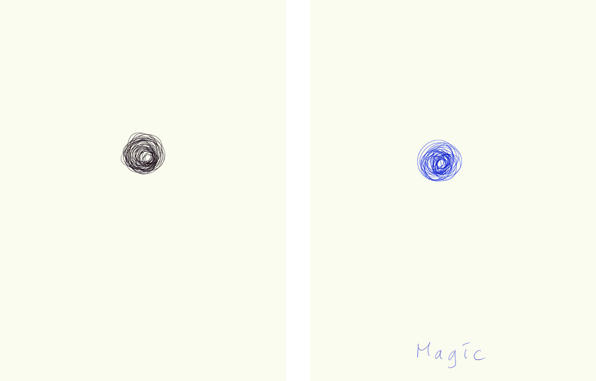 Claude Closky, 'Magic (blue)', 2009, ballpoint pen on paper, two drawings 30 x 40 cm.