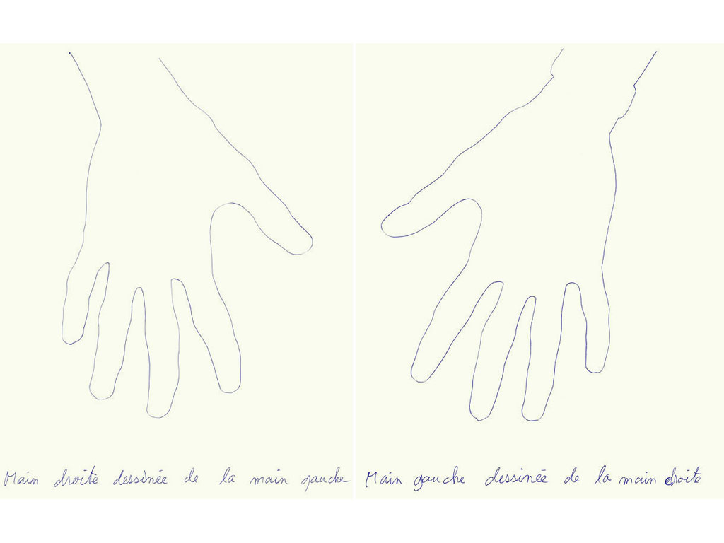 Claude Closky, 'Main droite dessinée de la main gauche  / Main gauche dessinée de la main droite [right hand drawn by the left, left hand drawn by the right]', 1989, ballpoint pen on paper, 2 drawings, 30 x 24 cm each.