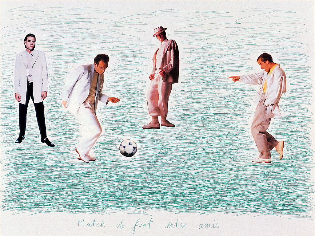 Claude Closky, 'Match de foot entre amis 1 [Soccer Match Among Friends 1]', 1998, green ballpoint pen and collage on cardboard, 60 x 80 cm.