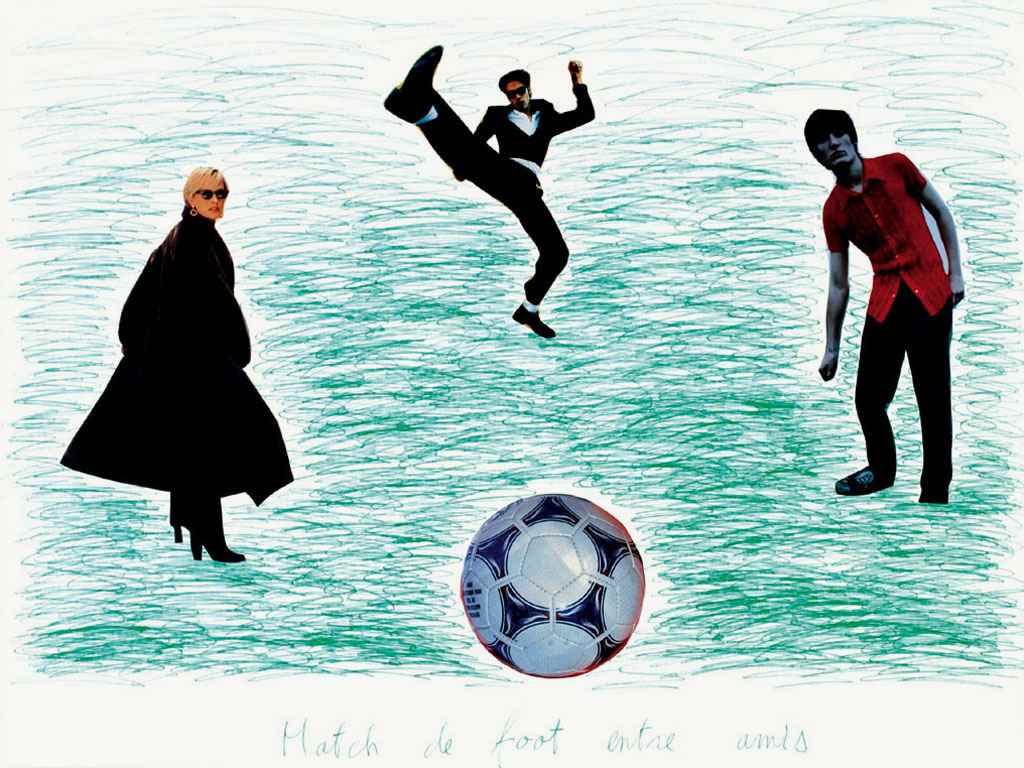 Claude Closky, 'Match de foot entre amis 7 [Soccer Match Among Friends 7]', 1998, green ballpoint pen and collage on paper, 60 x 80 cm.