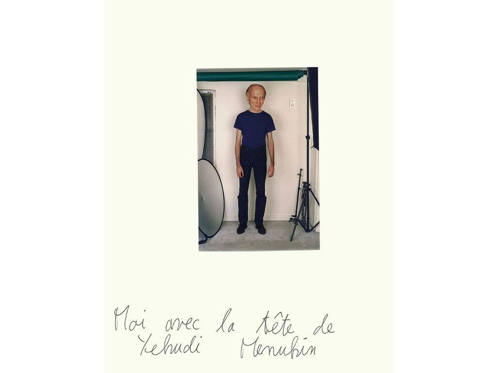 Claude Closky, 'Moi avec la tête de Yehudi Menuhin [me with the head of Yehudi Menuhin]', 1994, color photograph and ballpoint pen on paper, 30 x 24 cm.