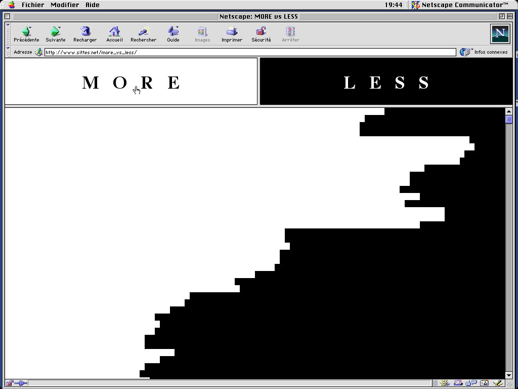 Claude Closky, 'More vs Less', 2001, interactive web site, Cgi (http://www.sittes.net/more_vs_less).