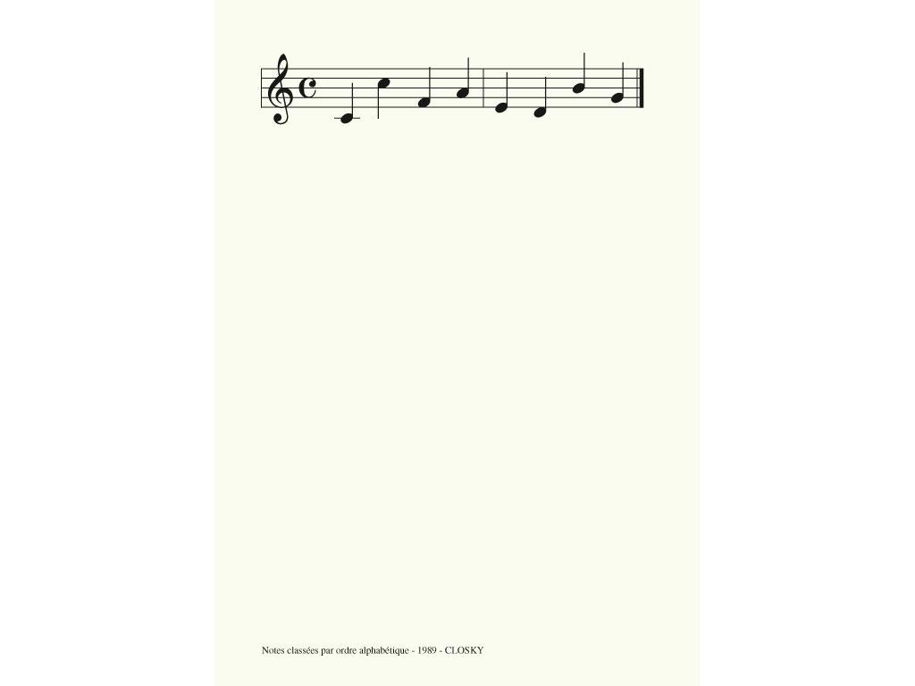 Claude Closky, 'Notes classées par ordre alphabétique [key notes classified in alphabetical order]', 1989, laserprint on paper, 21 x 29,7 cm.