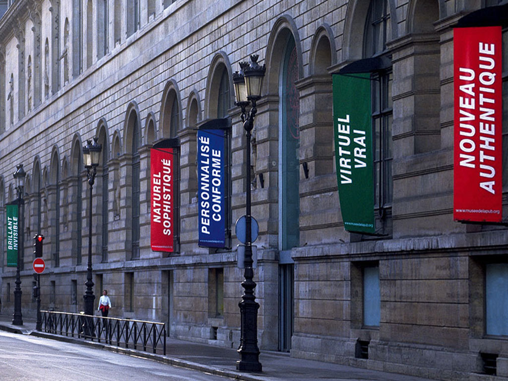 Claude Closky, 'New-Authentic (Nouveau-Authentique)', 1999, 9 banners hung on Rivoli street,  Paris, 300 x 100 cm each. Installation view on Rivoli Street, Paris, 1999