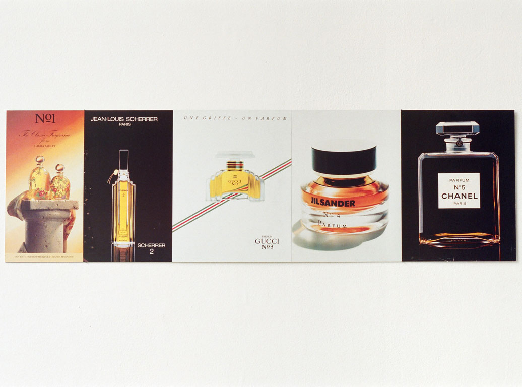 Claude Closky, 'Numbered perfumes', 1994, printed matter mounted on aluminum, 29,5 x 99 cm.